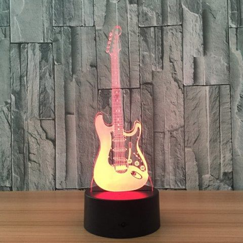 Music Guitar Fashion 3d Night Colorful Touch Visual Stereo Light Black Music Guitar Night Lamps Lighting