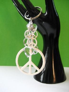 Peace Sign/Hearts Keychain or Purse Clip $8.50