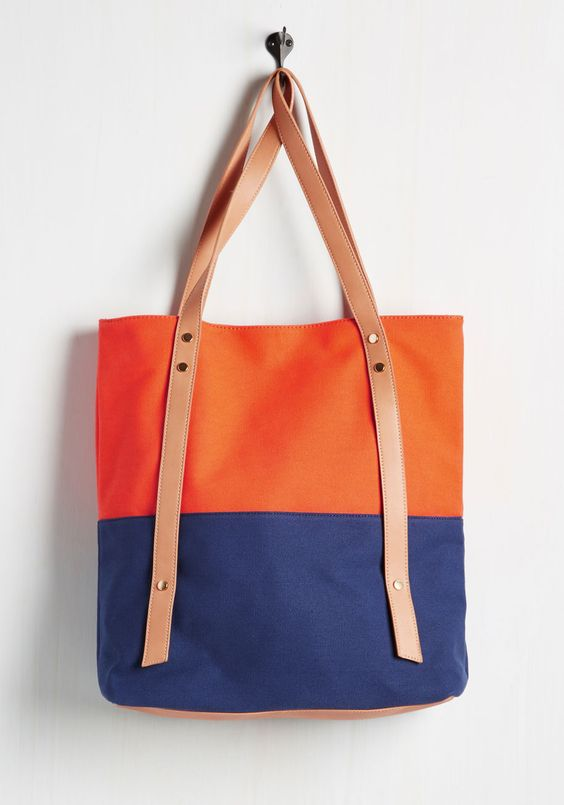 colorblocked poolside tote bag