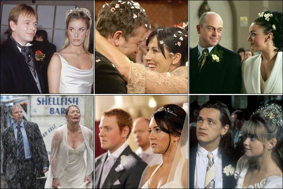 (clockwise from left to right) Adam Woodyatt as Ian Beale, Tamsin Outhwaite as Melanie Owen, Shane Richie as Alfie Moon, Jessie Wallace as Kat Slater, Ross Kemp as Grant Mitchell, Martine McCutcheon as Tiffany Mitchell, Ian Woodyatt, Laurie Brett as Jane Beale, Charlie Clements as Bradley Branning, Lacey Turner as Stacey Slater, Sid Owen as Ricky Butcher, Danielle Westbrook as Sam Mitchell        Eastenders weddings