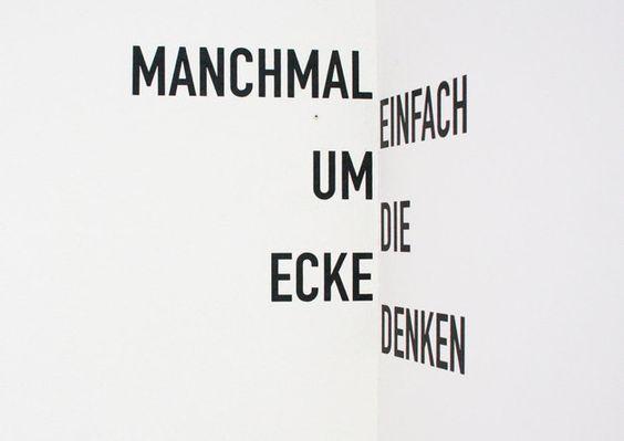 "Wandtattoo ""Um die Ecke"" / typo wall tattoo ""corner"" by whiterabbit via DaWanda.com"