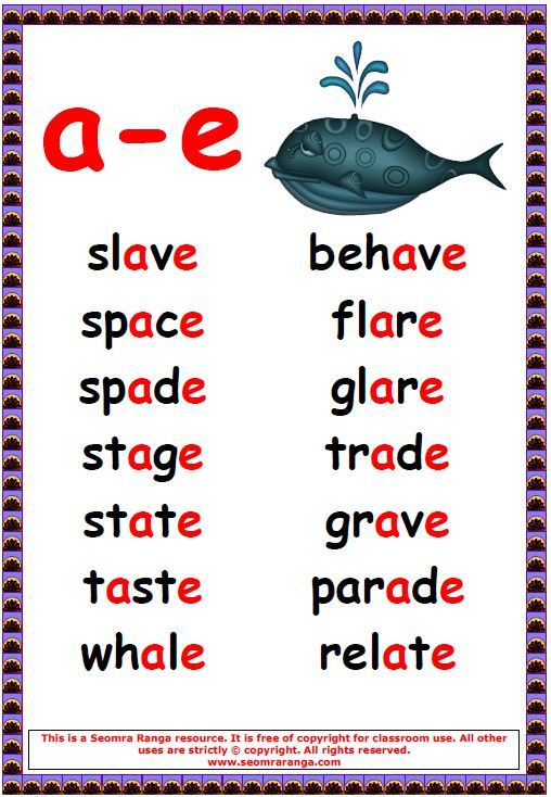 Phonics Poster - a-e Words