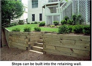 """How to Build a Timber Retaining Wall by """"This Old House""""  Again: timber steps, built into retaining wall."""