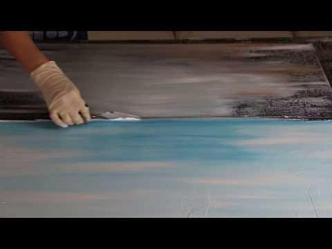 Abstraktes Acrylbild Blue Bay Demonstration By Victoria