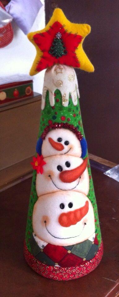 Mu ecos de navidad con conos de icopor buscar con google - Munecos de navidad ...