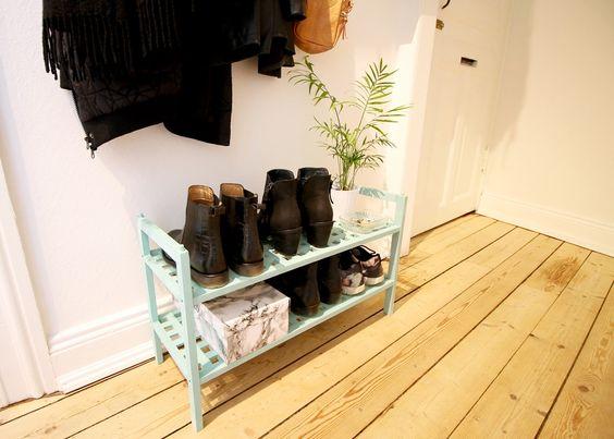DIY, skoreol, skoopbevaring, skostativ, vintage, retro, Chalky vintage, maling, genbrug, make over, indretning, opbevaring, gang, entre, plante, skohylde,