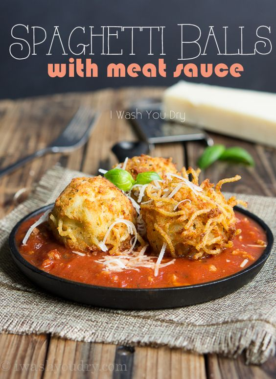 Spaghetti Balls with Meat Sauce! Spaghetti is combined with a cheesy ...