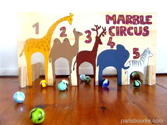 Wooden Marble Circus -- includes printable to transfer to shoebox.