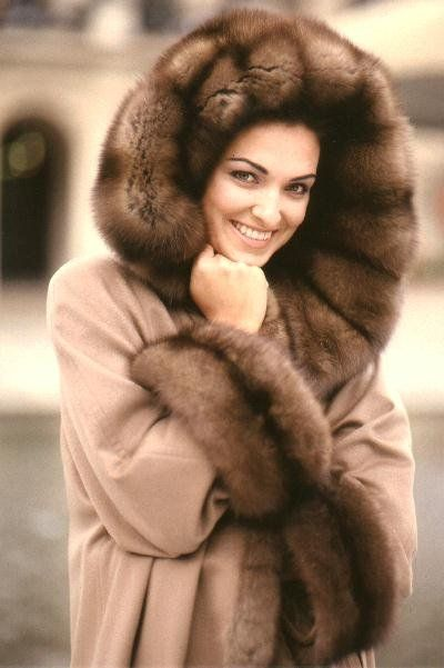 Sable Fur Trimmed Raincoat