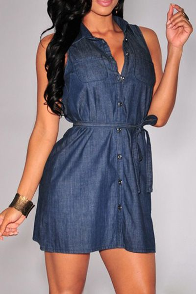 Stylish Turn-Down Collar Sleeveless Button Design Denim Women's Dress