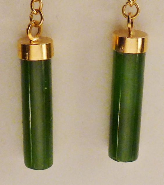 Asian JADE EARRINGS  Cylinders 1960s 1.5 inches  by vintagevasso, $19.99