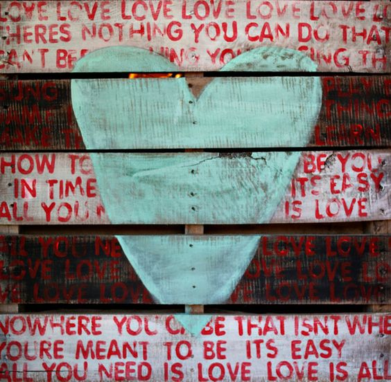 all you need is love art | The Beatles All You Need is Love Art Print by Pamela Joyce | Pallet art