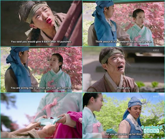 the thief boy after getting punches take back cha kyung silk pouch and greatful to the prince lee yeok -  Seven Day Queen: Episode 2 korean drama