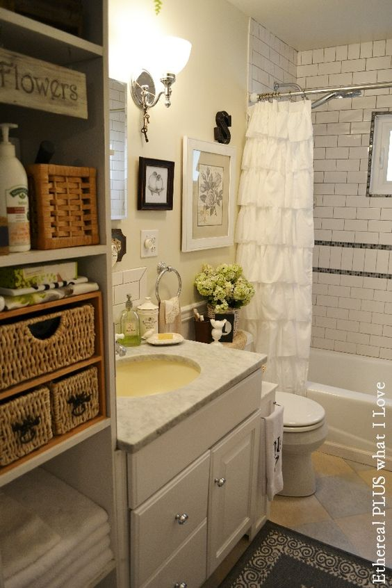 Small Cottage Bathroom Home Decor Pinterest The Doors Vanities And Tile Floor Designs