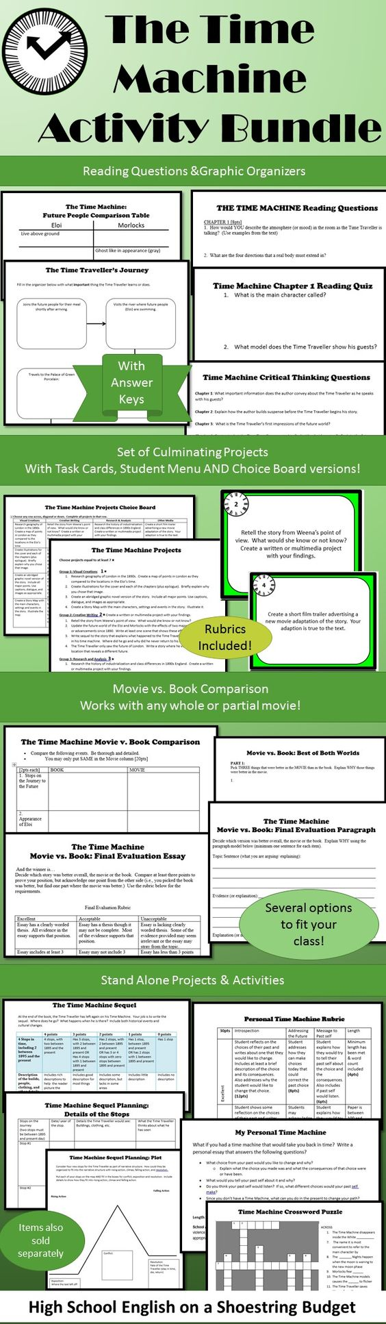 Flexible set of activities for use with the Time Machine.  Lots of options…