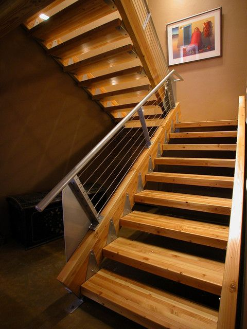 Lowes Stair Treads Staircase Industrial With Cable Railing Exposed Joints Industrial Landing Metal Banister O Staircase Contemporary Stairs Design Timber Stair