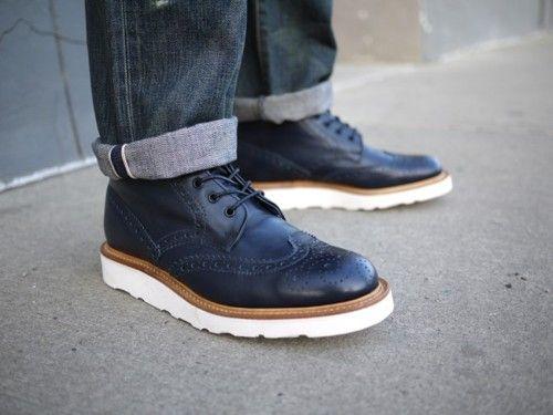 Marine leather, white sole.
