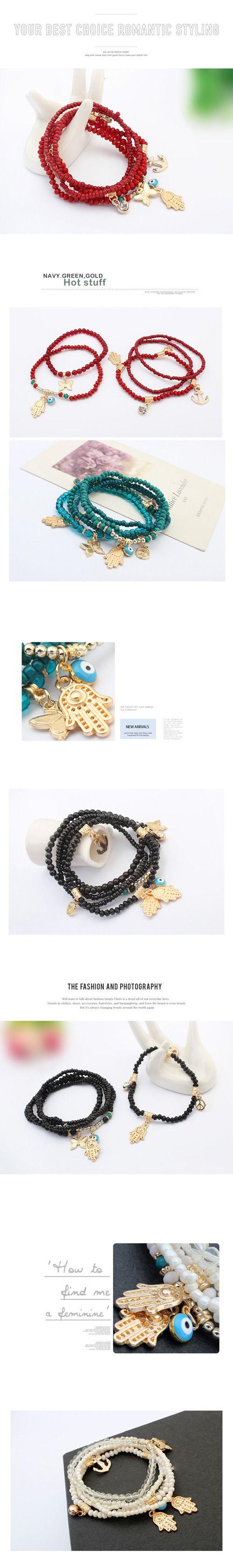 Wholesale corazón clásico brazalete de múltiples capas occidente del Buda de la moda (roja) | Callesetas