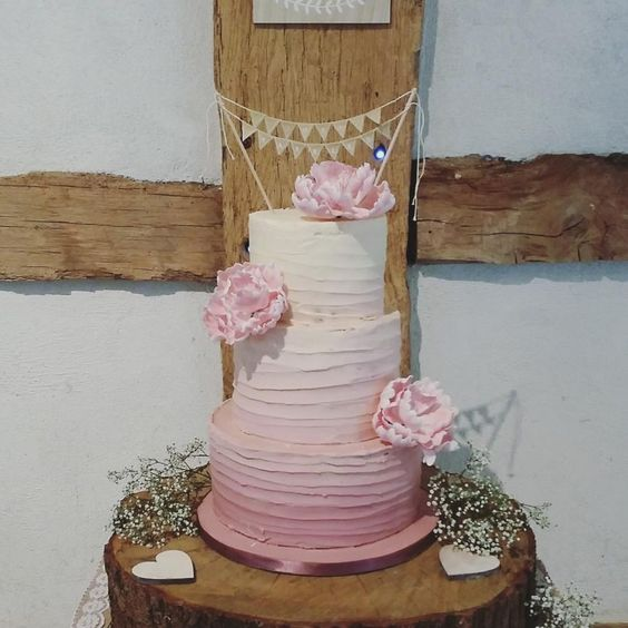 Ombre pink buttercream wedding cake  by Divine Bakes - http://cakesdecor.com/cakes/255934-ombre-pink-buttercream-wedding-cake