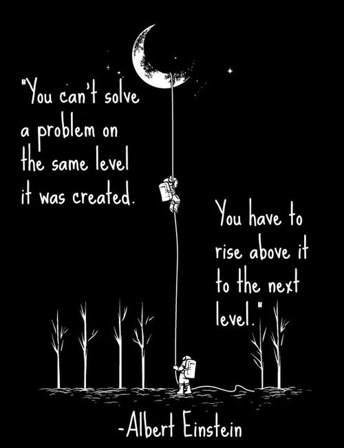 """Maybe for older children but true.  You can't solve a problem on the same level it was created. You have to rise above it to the next level."""" -Albert Einstein"""