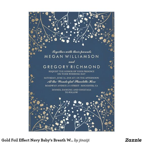 Gold Foil Effect Navy Baby's Breath Wedding 5x7 Paper Invitation Card