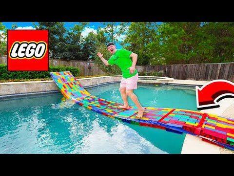 Building A 50ft Lego Bridge Across My Pool Youtube Lego Bridge Pool Best Memes