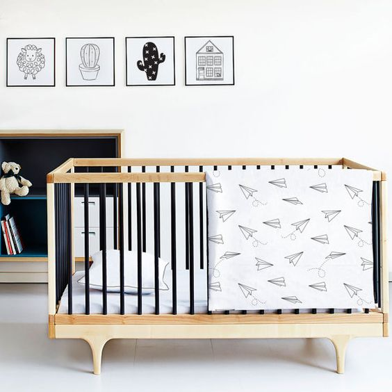 Paper Planes Cot Bedding  Baby Bedding Linen by kiderooSA on Etsy