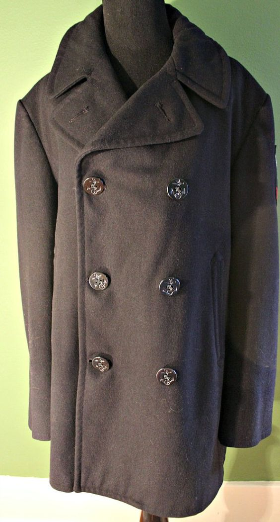 Vintage Men's 1960s 100 Wool US Navy Gunner's Pea Coat 40