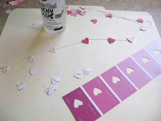 Valentine's heart garland with paint cards