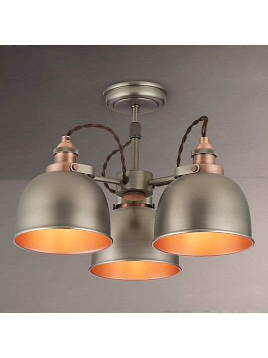 John Lewis Partners Baldwin Semi Flush 3 Arm Ceiling Light With Images Ceiling Lights