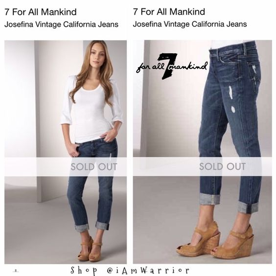 """7 for all Mankind Josefina buttonfly jeans 29x28"""" Super cute, distressed 7 for all Mankind jeans in Josefina style. Size 29 with 28"""" inseam. Can wear cuffed, but shown uncuffed in last photos. Great style and fit. Good condition, all distressing is natural to jean's finish. 7 for all Mankind Jeans Boyfriend"""