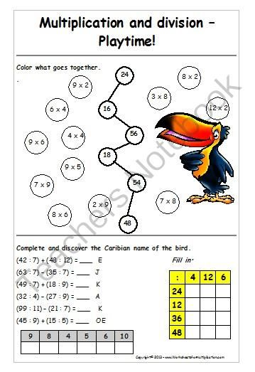 Multiplication and division - Playtime worksheet from Yvi's-Math ...