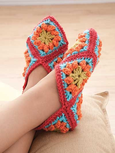 Granny Square Slippers Crochet Pattern Download from e-PatternsCentral.com -- Hook size determines slipper size in this comfy, colorful footwear made entirely with granny squares.: