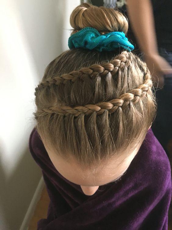 Gymnastics competition hair braid