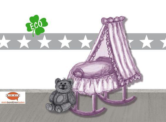 sterne-bordüre für kinderzimmer in verschiedenen grau-farbtönen