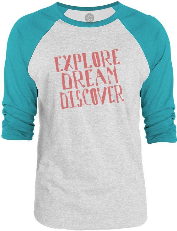Big Texas Explore Dream Discover (Red) 3/4-Sleeve Raglan Baseball T-Shirt