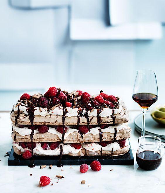 Chocolate raspberry meringue cake