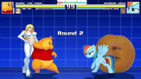 The Annoying Orange & Rainbow Dash VS Winnie The Pooh & Emma Frost In A MUGEN Match / Battle / Fight This video showcases Gameplay of Rainbow Dash From The My Little Pony Friendship Is Magic Series And The Annoying Orange VS Winnie The Pooh And Emma Frost In A MUGEN Match / Battle / Fight