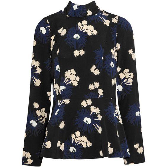 Marni Printed silk-crepe blouse ($900) ❤ liked on Polyvore