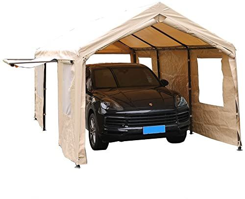 Buy Sorara Carport 10 X 20 Ft Heavy Duty Canopy Garage Car Shelter Windows Sidewalls Beige Online Newtoprated In 2020 Car Shelter Portable Garage Carport