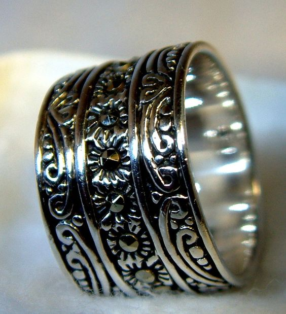 RING,ANTIQUED STERLING SILVER BAND,SIZE 5.5.925,LADEN WITH MARCASITES,CASE INCL  #Handmade #Band