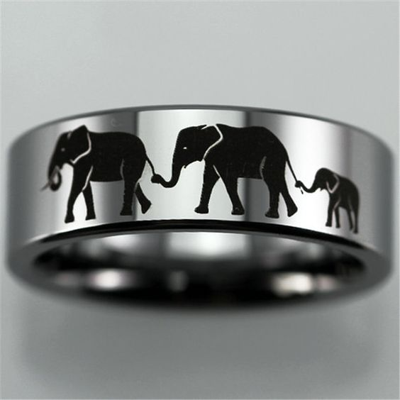 Free Engraving Top Quality Elephants Family Design Ring 8mm Silver Pipe Tungsten Ring Comfort Fit Design Men's Wedding Ring Promise Ring