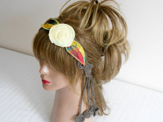 Crochet Headband Boho Headband Hippie Headband Hair by Gypsyscarf
