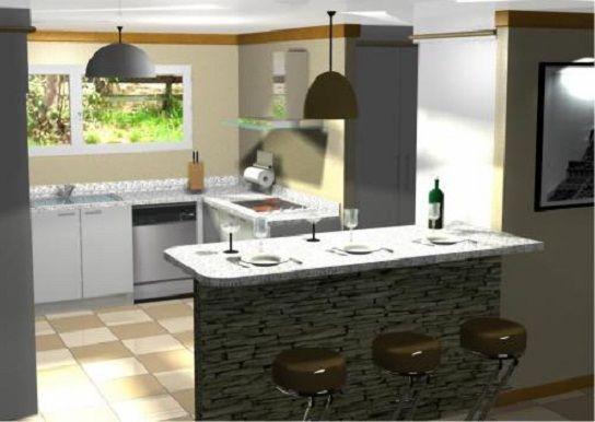 Planos modernos de cocinas con desayunador cocinas for Desayunador para cocina
