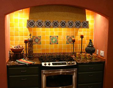 Talavera tile backsplash and granite countertop home for Spanish style kitchen backsplash