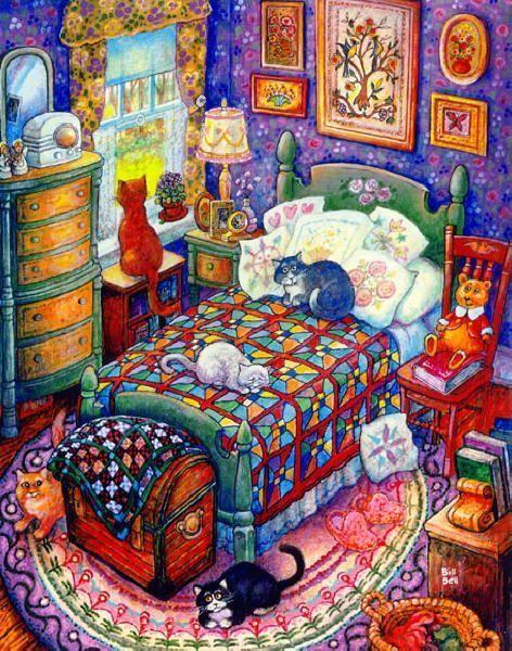 Cats in bedroom