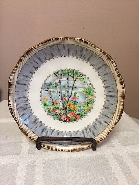 ROYAL ALBERT-Bone China  saucer only– Silver Birch– Made in England -Discontinued Dec 2001 by Cachebuster on Etsy