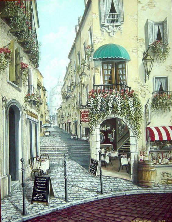 italian street with wall mural pillow pinterest
