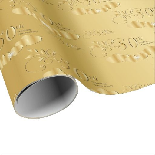 Elegant 50th Golden Wedding Anniversary Wrapping Paper Zazzle Com 50 Golden Wedding Anniversary Golden Wedding Anniversary Golden Wedding