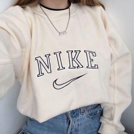 Sweater Nike White Girl Woman Beauty Fashion Vintage Nike Sweatshirt Retro Outfits Cute Casual Outfits
